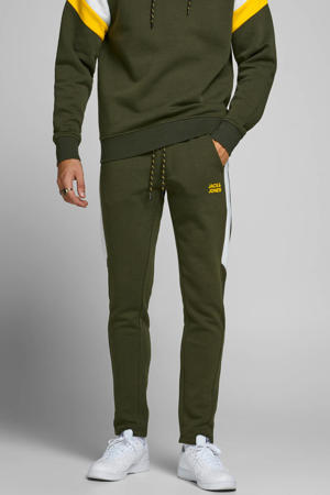 regular fit joggingbroek groen/wit