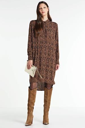 blousejurk met all over print bruin