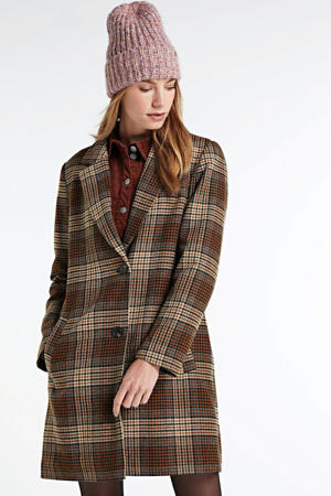 geruite coat bruin