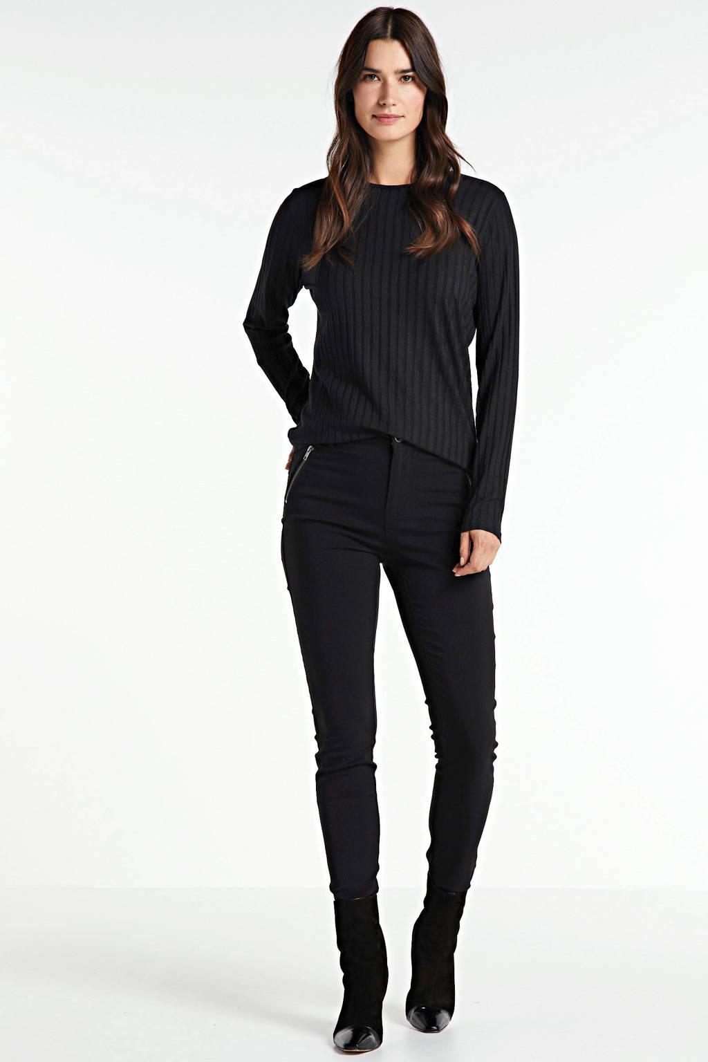 Peppercorn slim fit broek zwart, Zwart