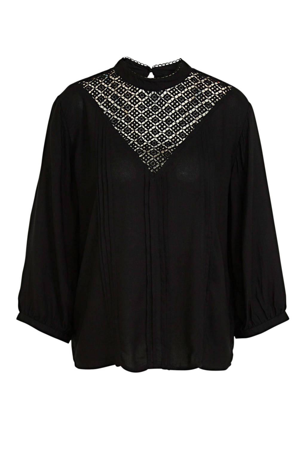 Peppercorn blouse met open detail zwart, Zwart
