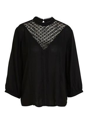 blouse met open detail zwart