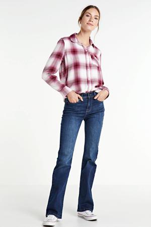 geruite flanellen blouse V-DRAPEY 1 PKT PLAID SHRT raspberry milk plaid