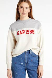 GAP sweater V-intl Logo po met printopdruk oatmeal heather, OATMEAL HEATHER