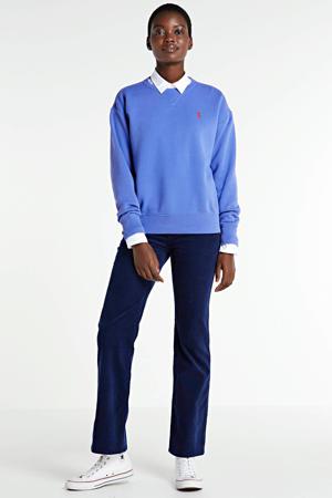 corduroy high waist flared broek elysian blue
