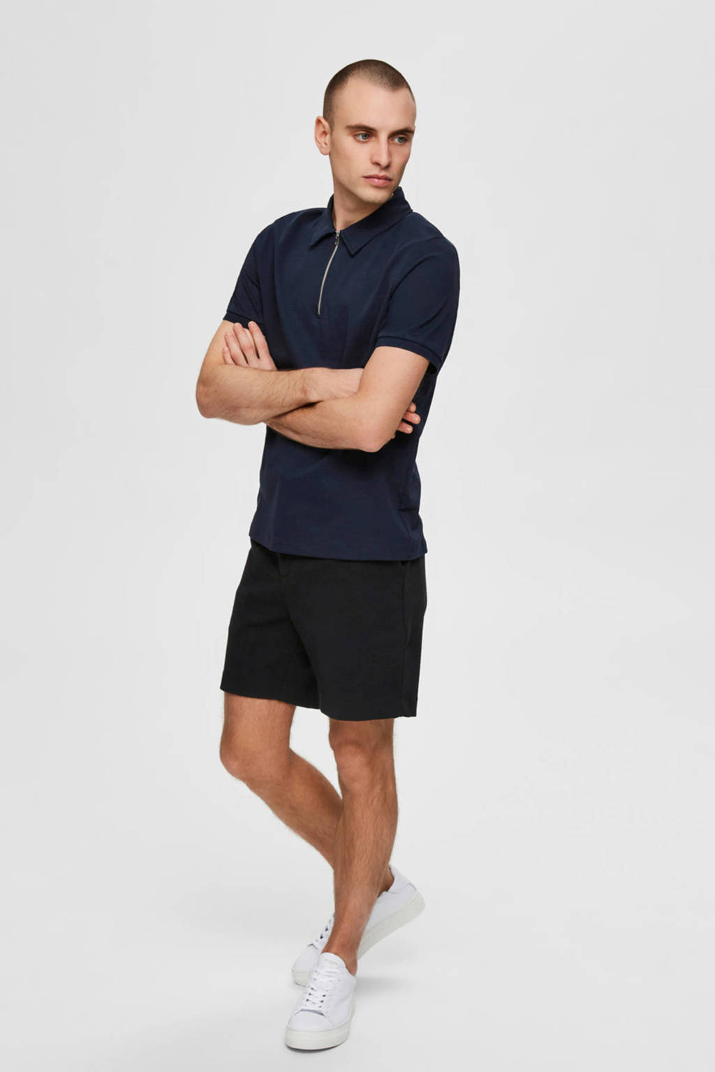 SELECTED HOMME slim fit polo donkerblauw, Donkerblauw