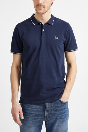 regular fit polo donkerblauw/wit