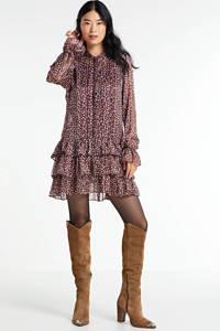 HARPER & YVE semi-transparante jurk Abbey met all over print en ruches paars/ roze, Paars/ roze