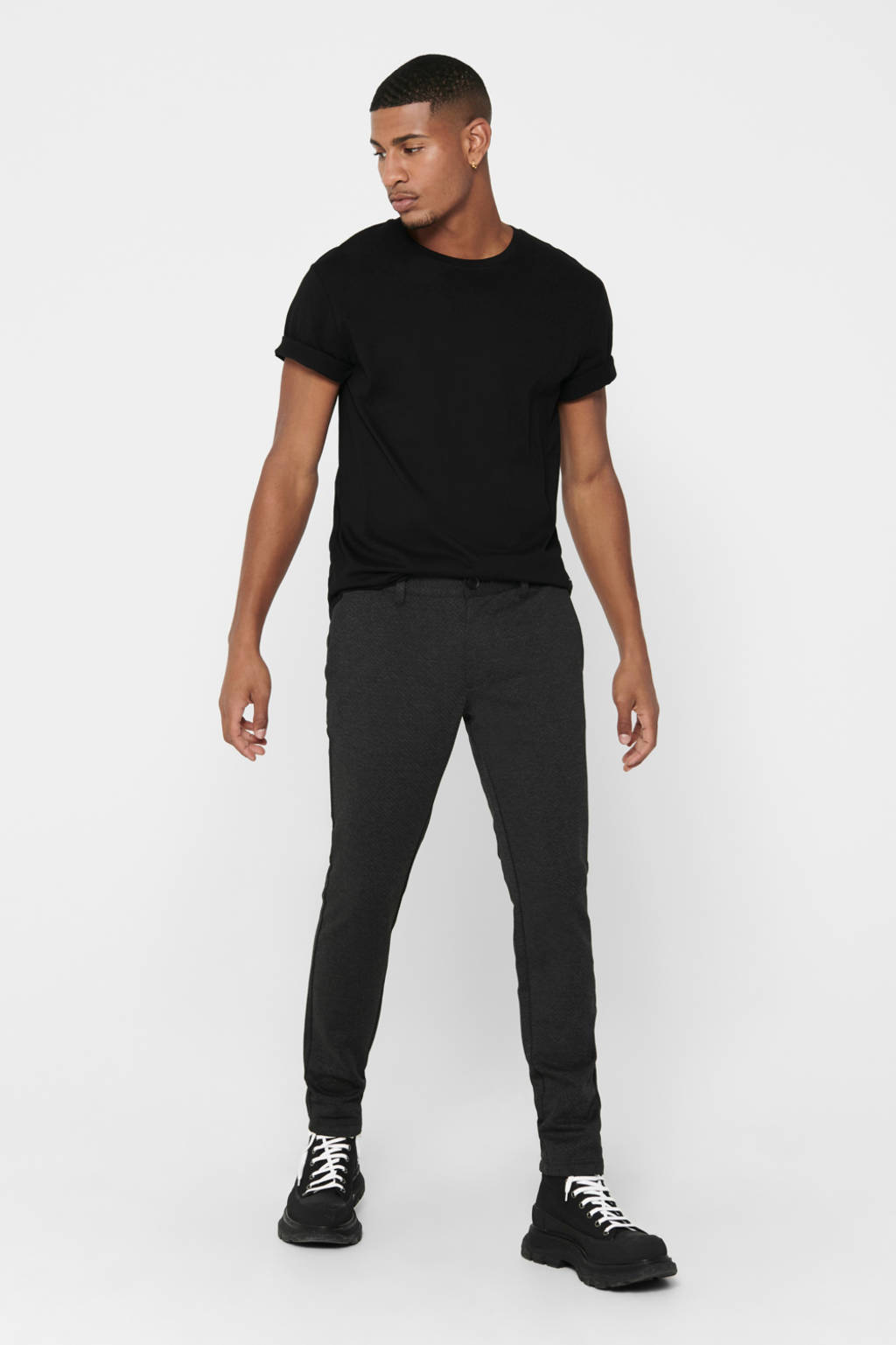 ONLY & SONS gemêleerde slim fit pantalon grijs, Grijs