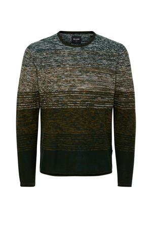gestreepte fijngebreide trui groen
