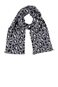 Sarlini sjaal met panterprint grijs, Grijs