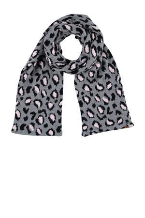 sjaal met panterprint grijs