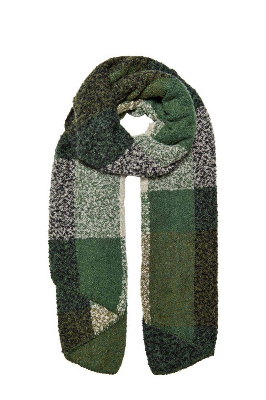 ONLY geruite sjaal groen, Groen/beige