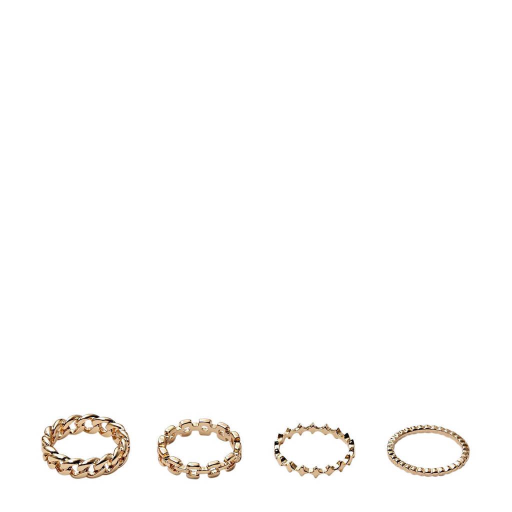 PIECES ring goud (set van 4), Goud