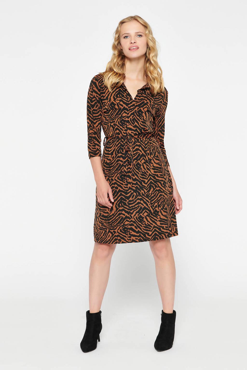 LOLALIZA jurk met dierenprint en ceintuur bruin/zwart, Bruin/zwart