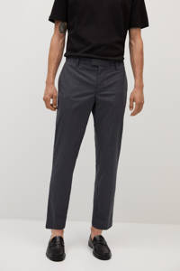 Mango Man straight fit pantalon met krijtstreep donkergrijs, Donkergrijs