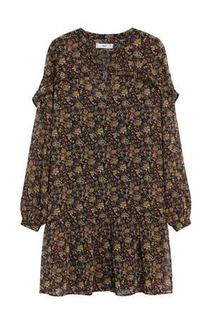 gebloemde jurk bruin