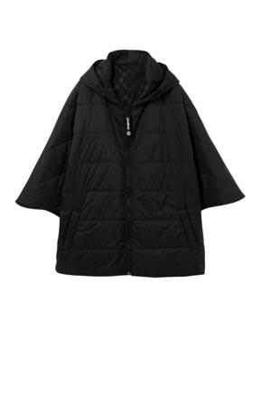 gewatteerde poncho zwart