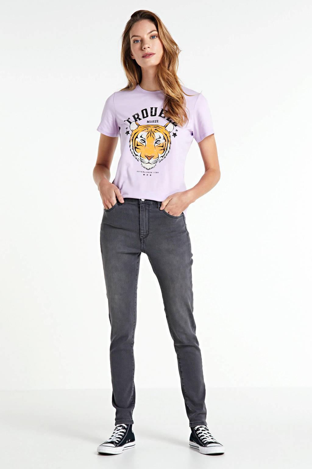 ONLY T-shirt Vita met printopdruk paars, Paars