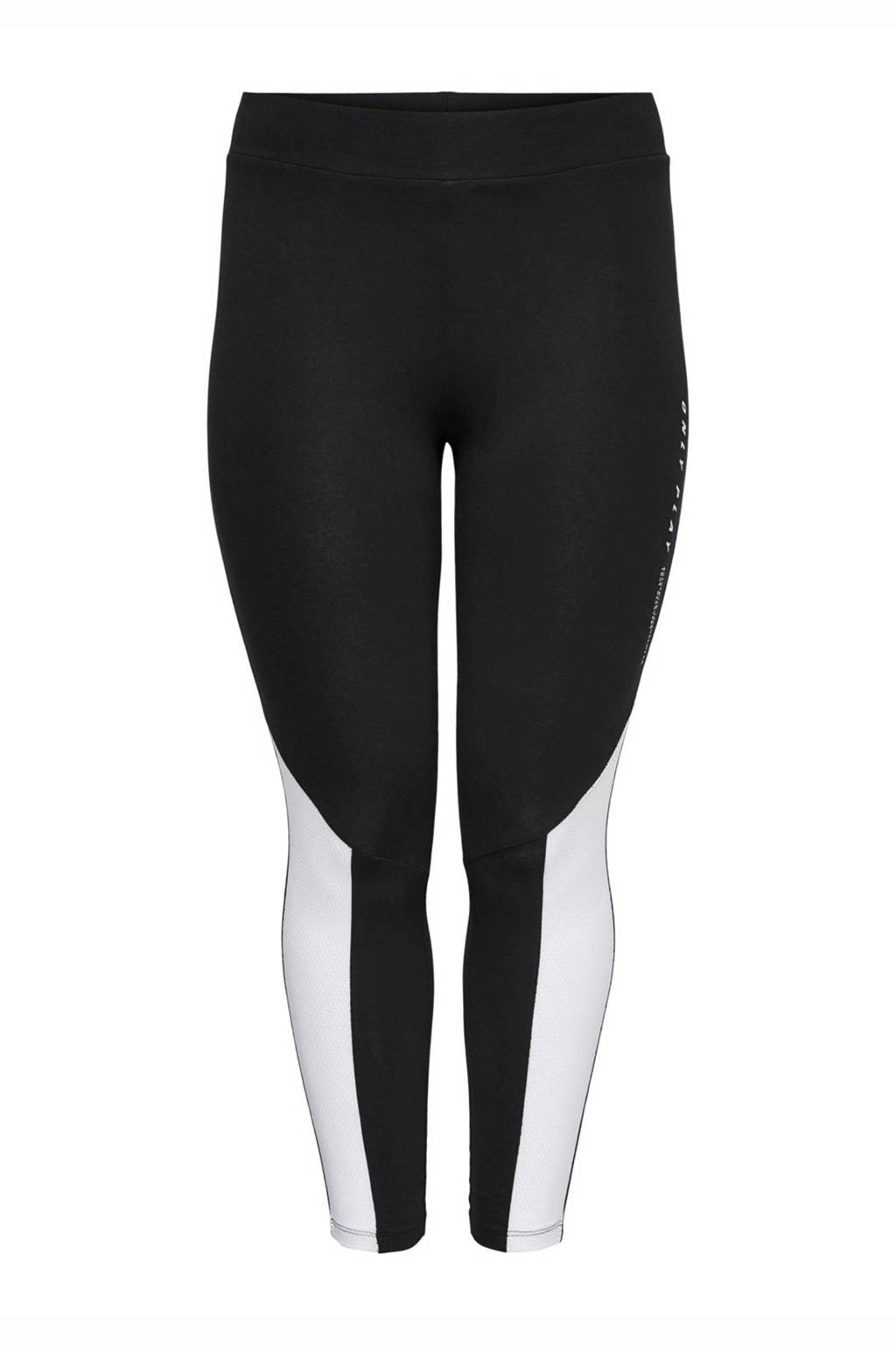 Only Play Curvy Plus Size 7/8 sportbroek zwart/wit, Zwart/wit