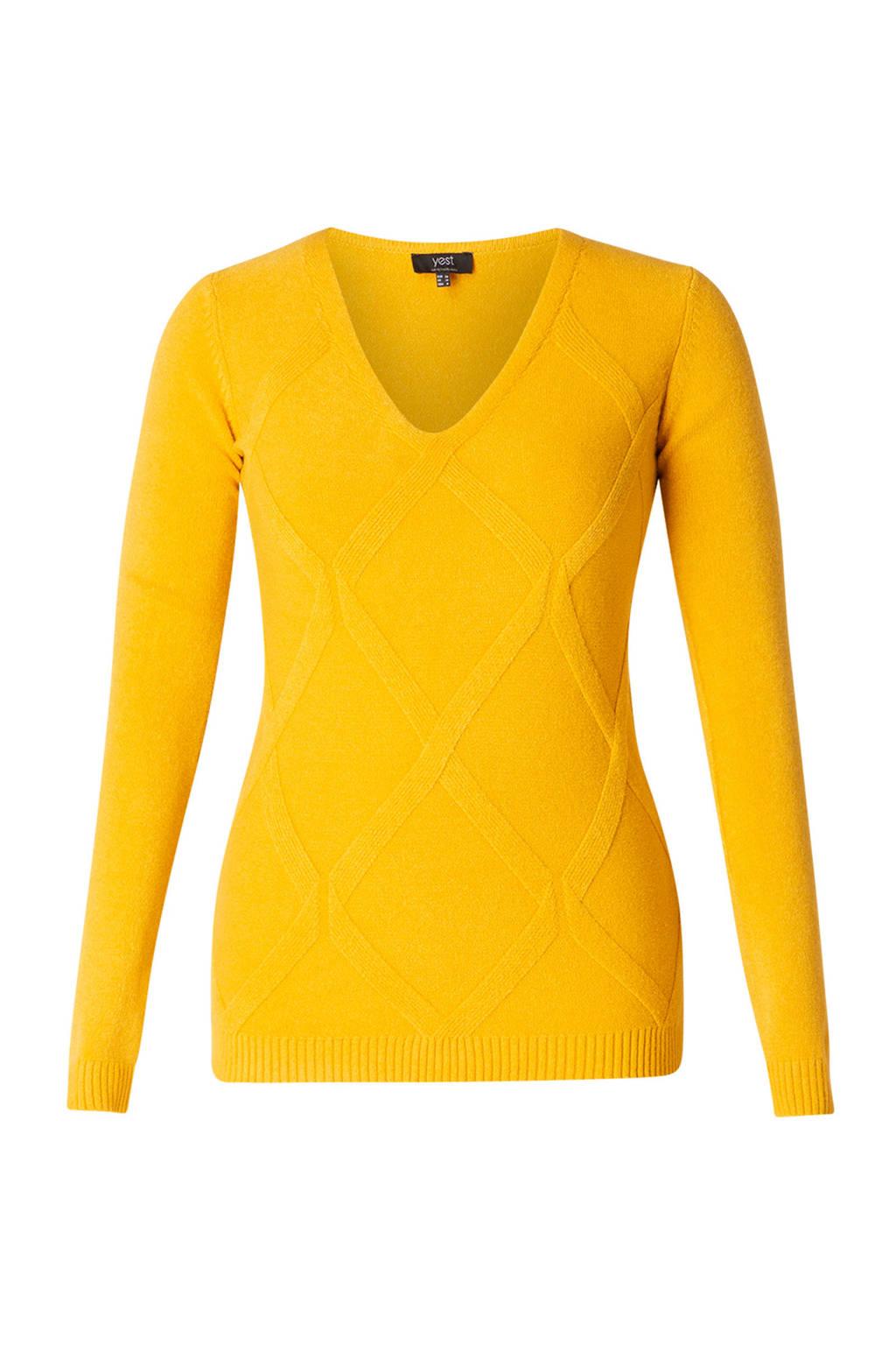 Yest gebreide trui met textuur okergeel, Okergeel