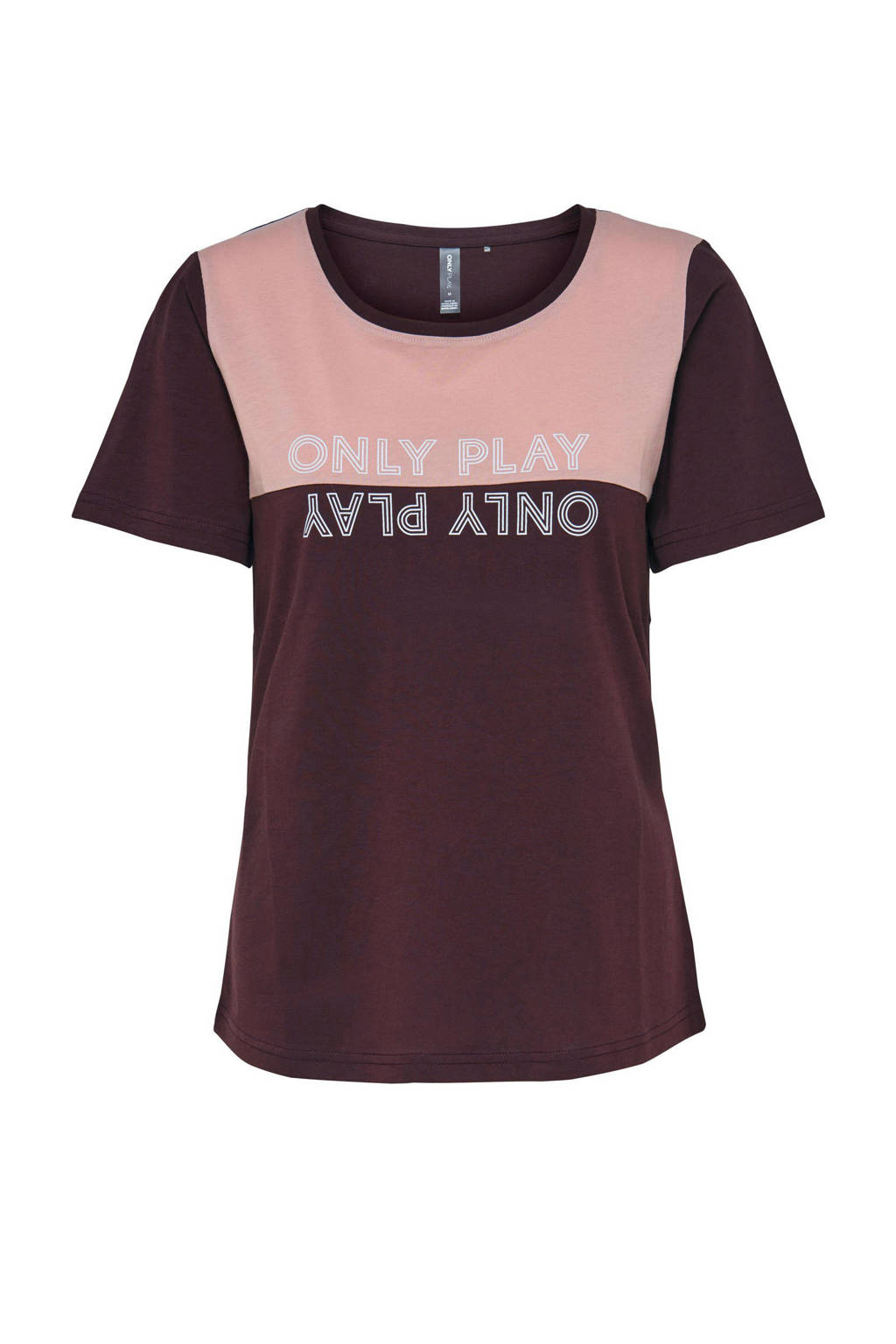 ONLY PLAY sport T-shirt Nia roodbruin/roze, Roodbruin/roze