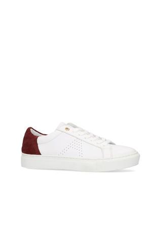 leren sneakers wit/rood