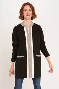 Morgan vest met contrastbies zwart/ grijs