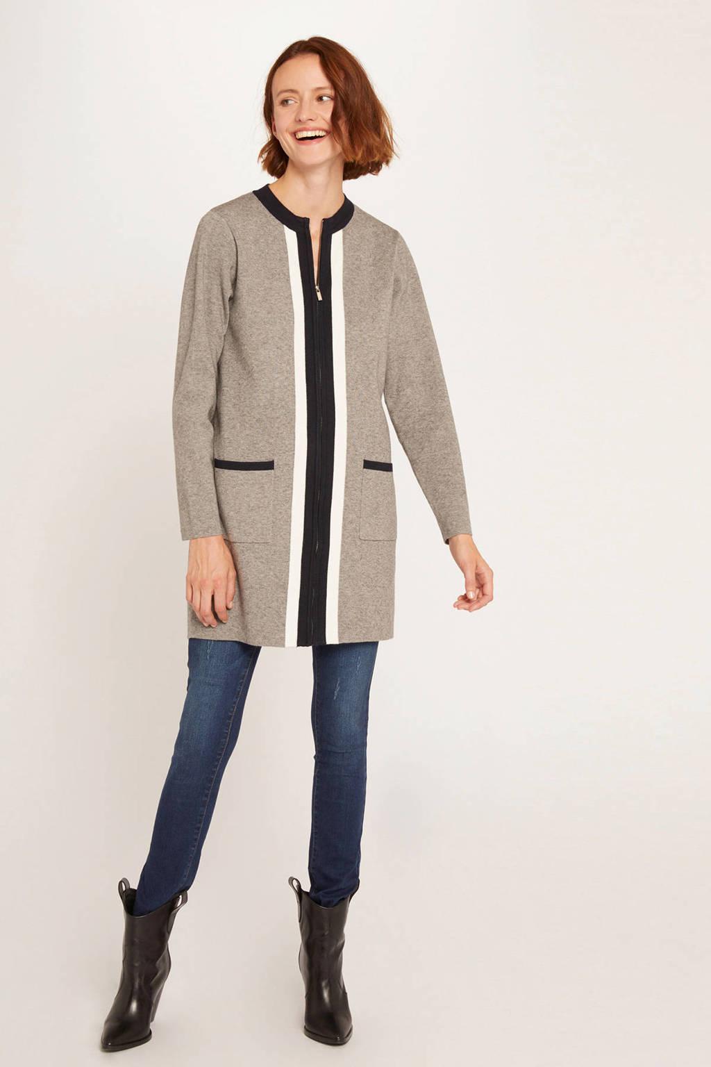 Morgan gemêleerd vest met contrastbies grijs melange/ zwart