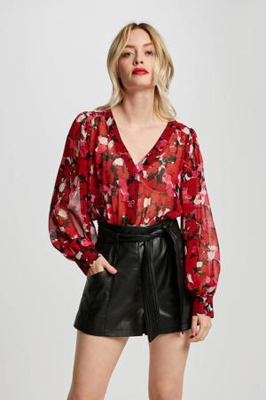 gebloemde semi-transparante peplum blouse rood