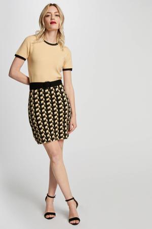 fijngebreide jurk met grafische print en glitters beige/ bruin