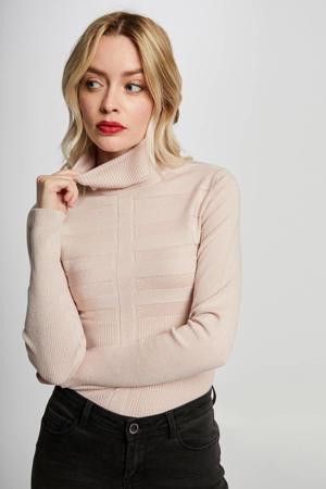 fijngebreide trui met textuur lichtroze