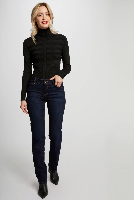 Morgan fijngebreide trui met textuur zwart, Zwart