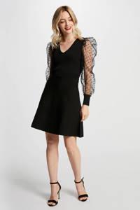 Morgan semi-transparante jurk met mesh zwart, Zwart