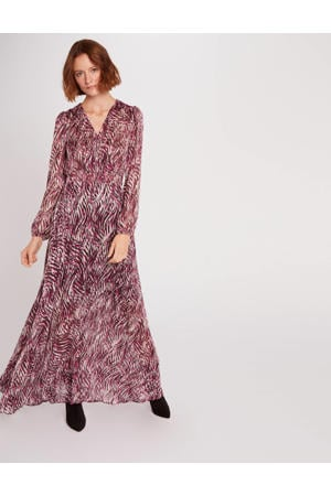 maxi jurk met all over print framboise