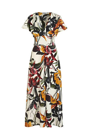 maxi jurk met all over print ecru/multi
