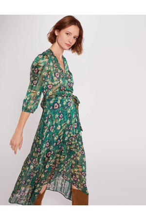 semi-transparante maxi wikkeljurk met all over print en ruches groen