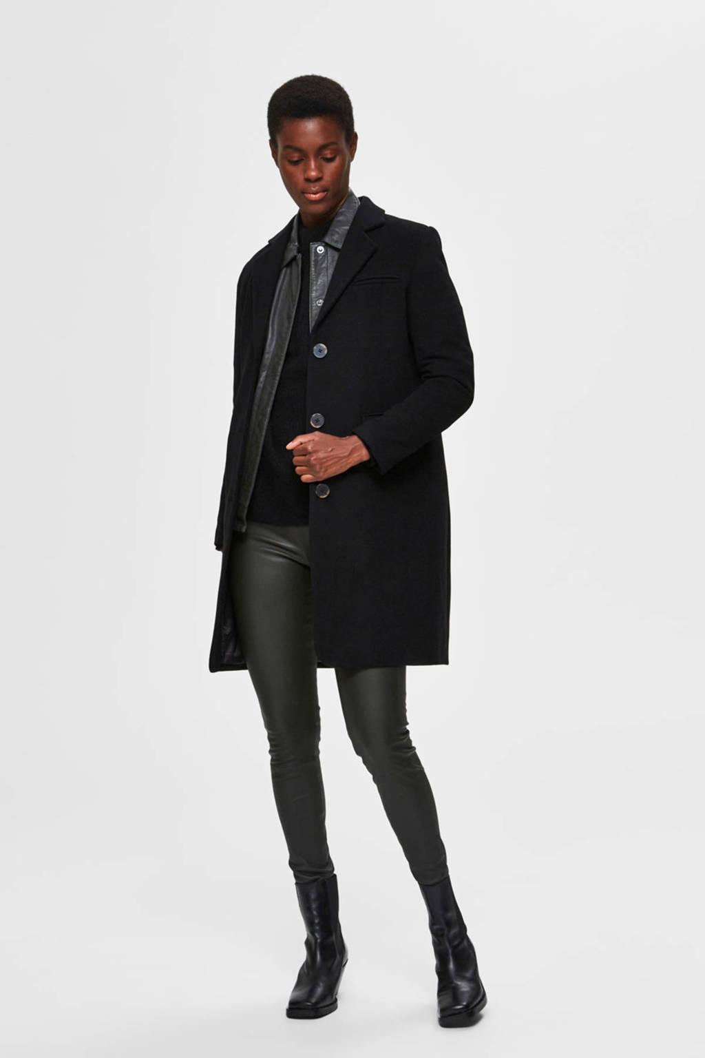 SELECTED FEMME coat winter met wol zwart, Zwart
