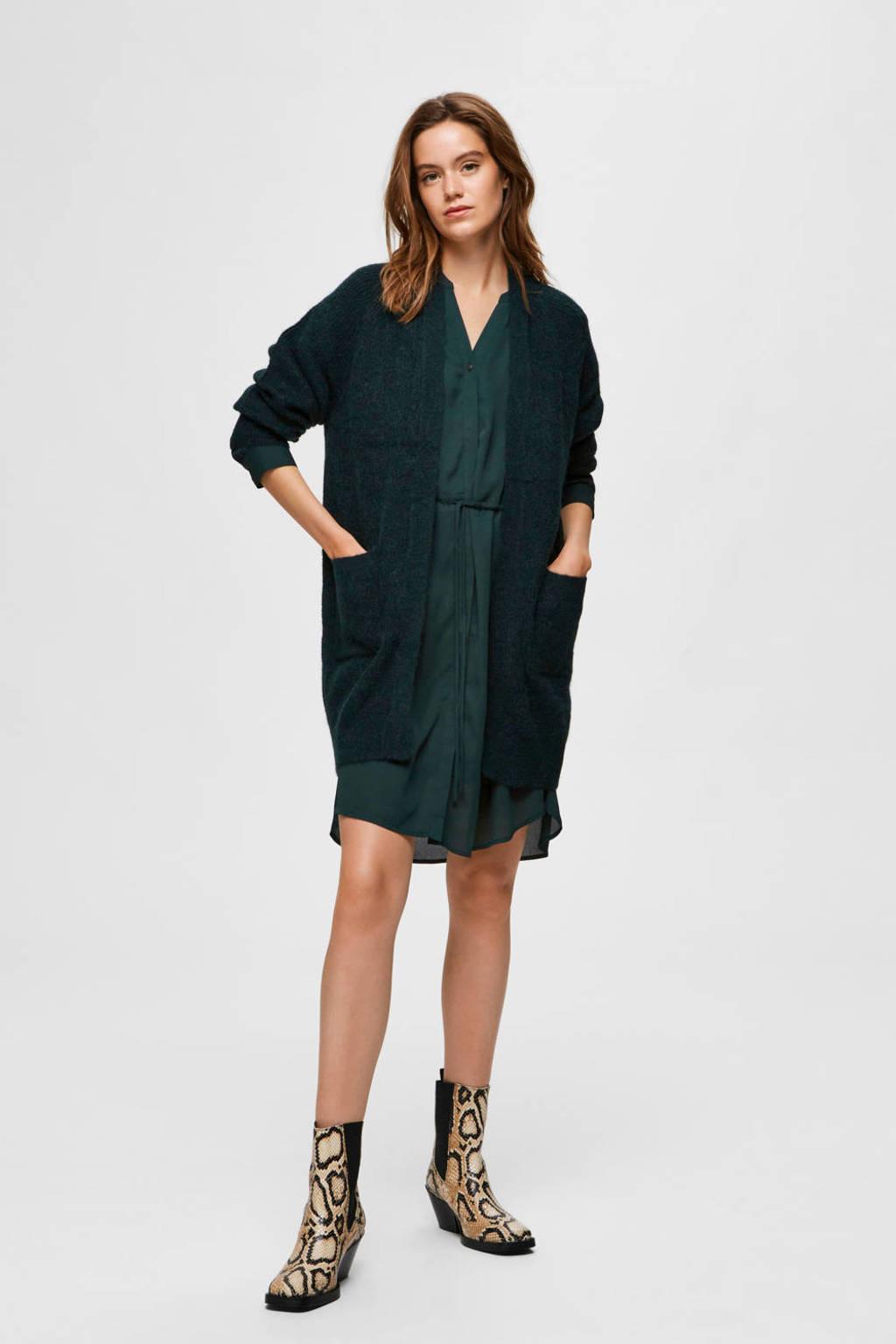 SELECTED FEMME vest met wol groen, Groen