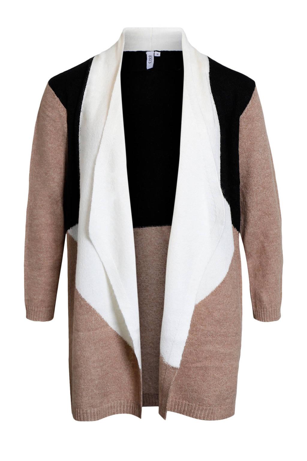 Ciso fijngebreid vest met wol beige/zwart/wit, Beige/zwart/wit
