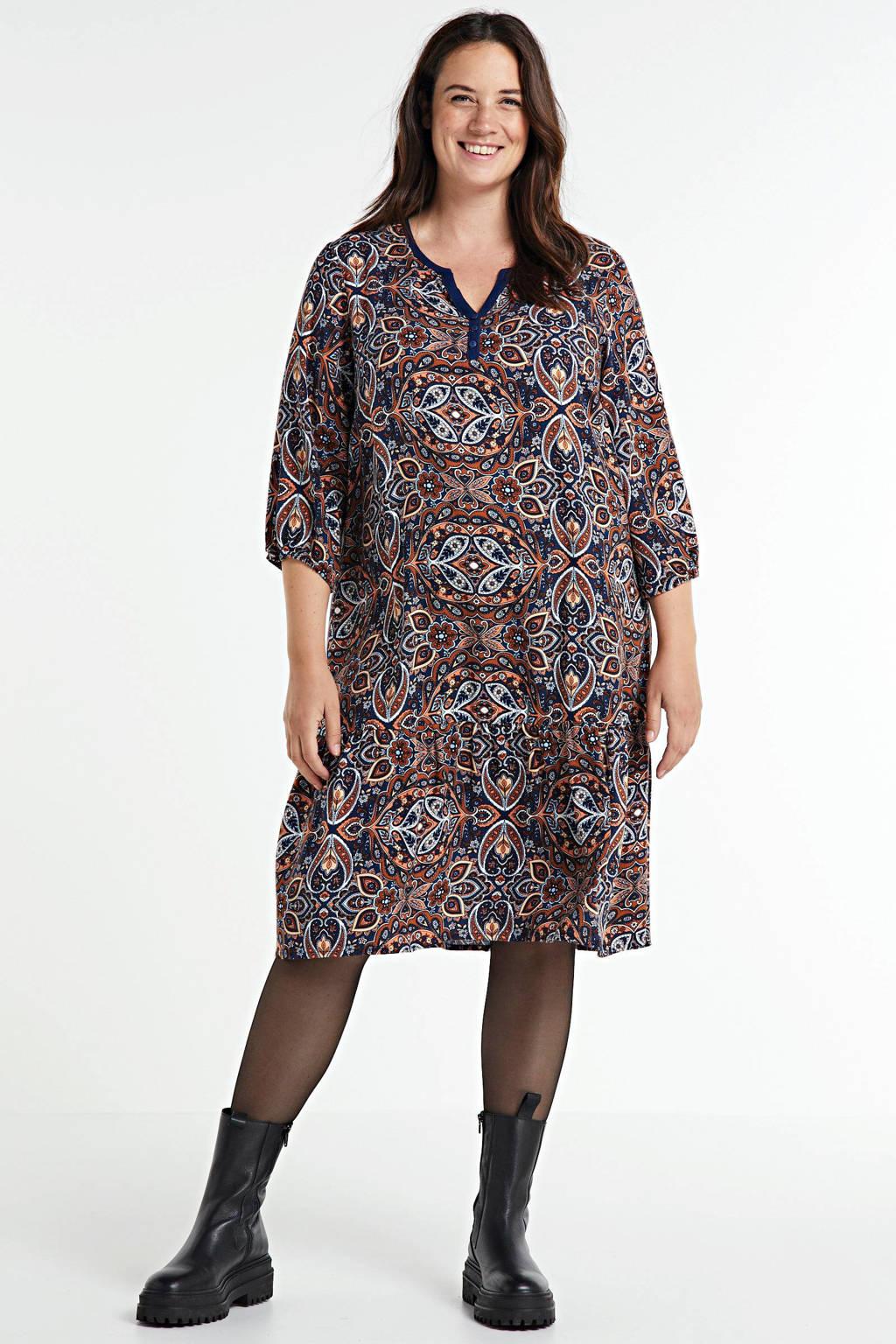 Ciso jurk met paisleyprint donkerblauw/rood/oranje, Donkerblauw/rood/oranje