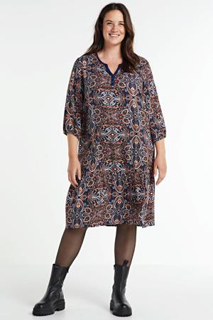 jurk met paisleyprint donkerblauw/rood/oranje