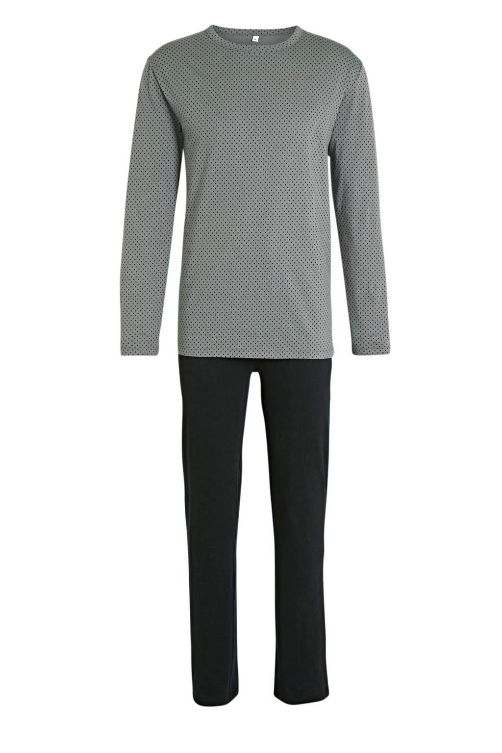 ten Cate pyjama met stippen grijs/zwart, Grijs/zwart