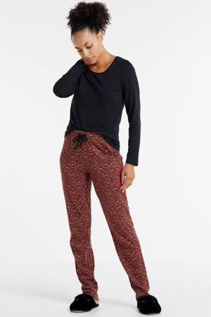pyjama met panterprint zwart/rood
