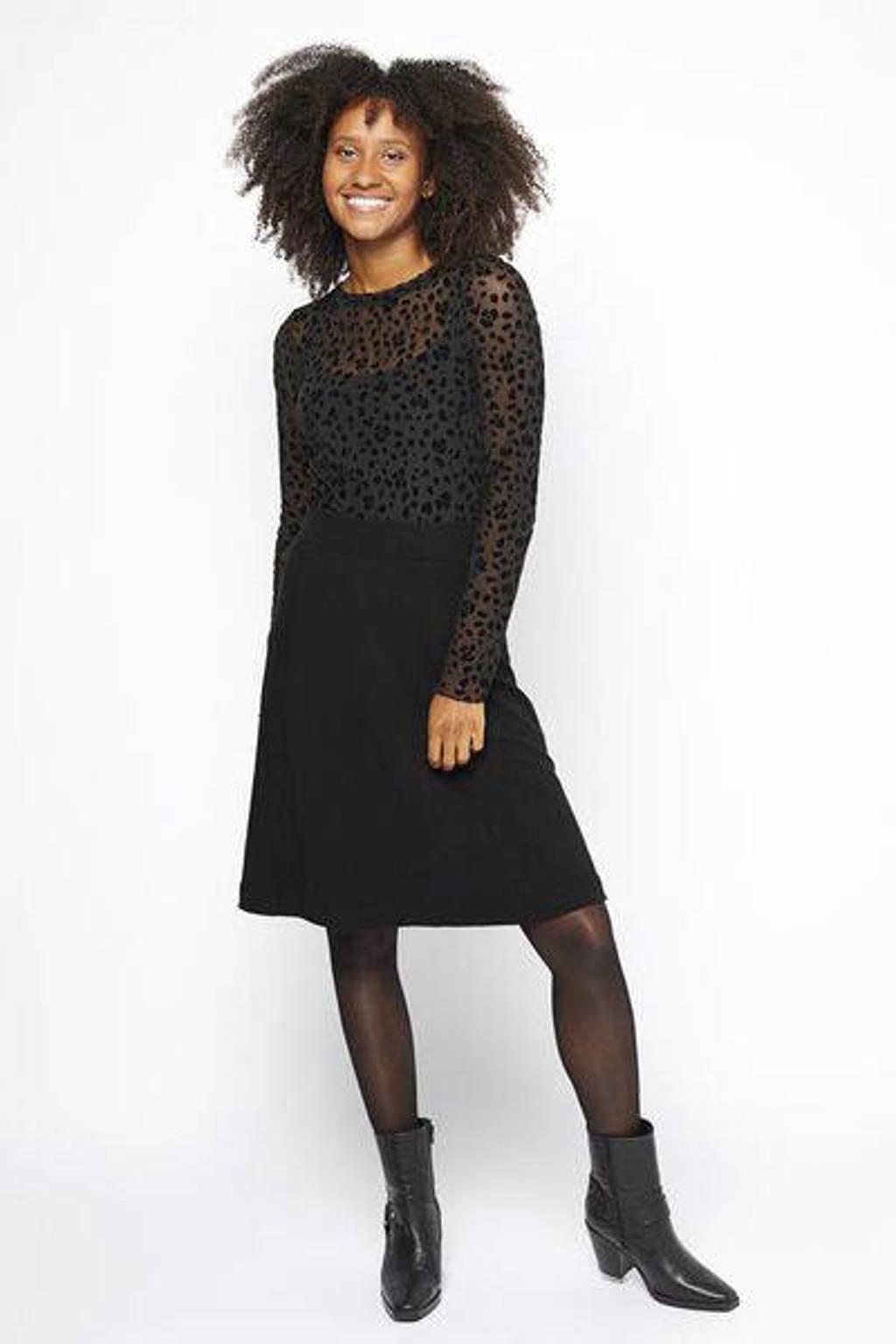 HEMA rok met textuur zwart, Zwart