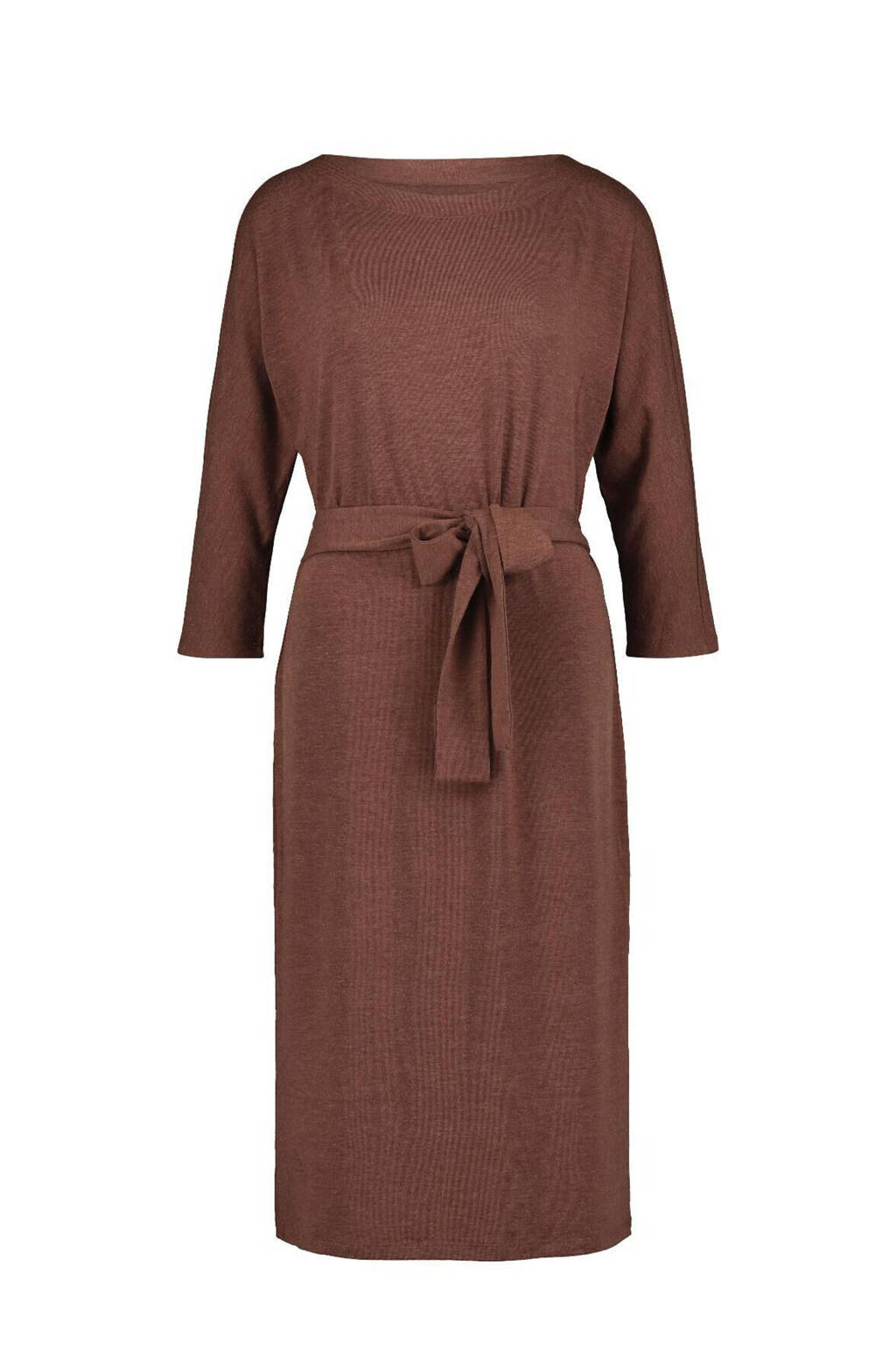 HEMA gemêleerde fijngebreide jurk bruin, Bruin