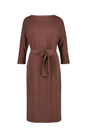 gemêleerde fijngebreide jurk bruin