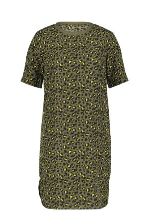 T-shirtjurk met panterprint olijf