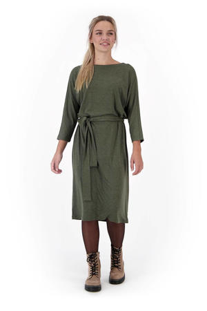 gemêleerde jurk olijfgroen