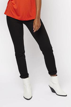 high waist push-up skinny jeans zwart